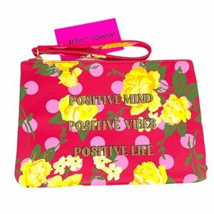 Betsey Johnson Floral Printed Pouch, Pink